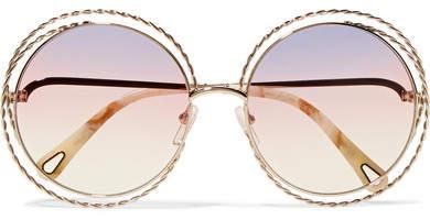 Chloé Oversized Round-frame Gold-tone Sunglasses