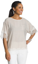 Chico's Lace-Trim Striped Top