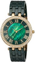 Anne Klein Women's AK/2130GNGB Swarovski Crystal Accented Gold-Tone and Green Ceramic Bracelet Watch