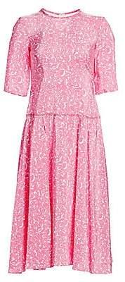 Marni Women's Printed Drop-Waist Midi Dress