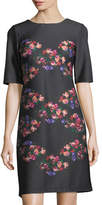 Taylor Floral-Print Half-Sleeve Shift Dress