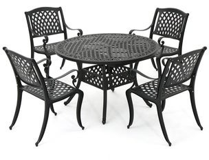 Christopher Knight Home Carysfort Outdoor Round Aluminum Dining Set