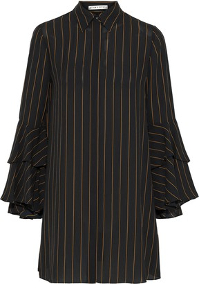 Alice + Olivia Jem Ruffled Pinstriped Crepe De Chine Mini Shirt Dress