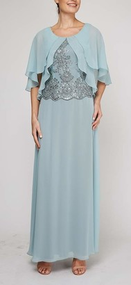 Le Bos Women's Capelet Embroidered Long Dress
