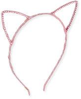 Bari Lynn Glittered Cat-Ear Headband, Light Pink