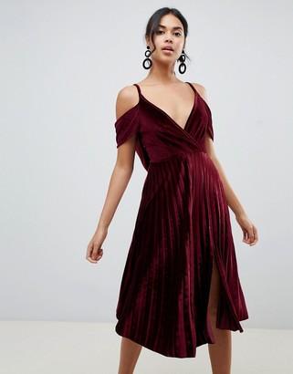 ASOS DESIGN pleated velvet cami midi dress with cowl back detail