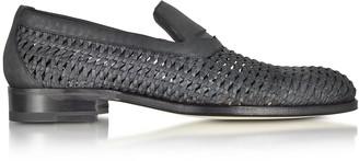 a. testoni Black Woven Leather Slip-on Shoe