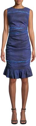Nicole Miller Lauren Shibori Stripe Ruffle-Hem Dress