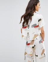 NATIVE YOUTH Relaxed Button Back Crop Top In Abstract Print Co-Ord