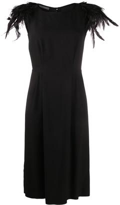 Alberta Ferretti Feathered Silk Midi Dress