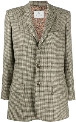 Etro Houndstooth-Pattern Single Breasted Blazer
