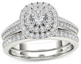 Zales 7/8 CT. T.W. Diamond Double Cushion Frame Multi-Row Bridal Set in 14K White Gold