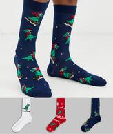 Asos Design DESIGN 3 pack ankle sock with christmas dinosaur tree rex print save