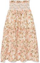 Zimmermann Radiate Smocked Floral-print Linen And Silk-blend Maxi Skirt