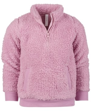 Ideology Little Girls Sherpa Quarter-Zip Jacket, Created for Macy's