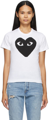Comme des Garcons White and Black Large Heart T-Shirt