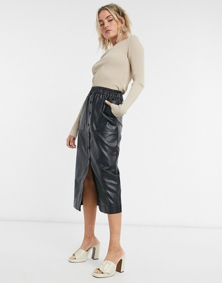 GHOSPELL midi skirt in faux leather
