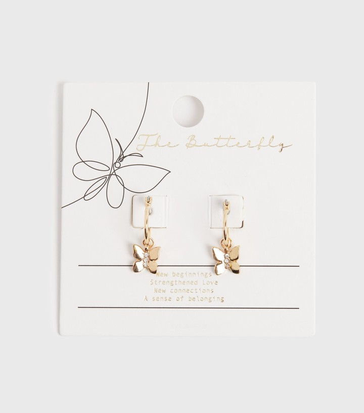 Thumbnail for your product : New Look Diamante Butterfly Drop Hoop Earrings