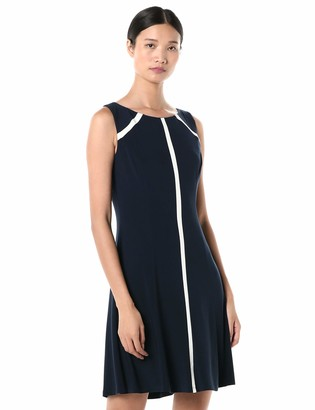 Chaps Women's Coloblock Striped Matte Jersey Dress