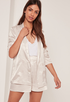 Missguided Premium Satin Double Breasted Blazer Nude