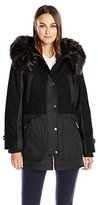 1 Madison Women's Mixed Media Wool Melton and Bonded Cotton Parka