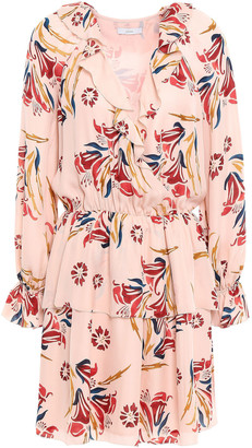 Joie Nour Wrap-effect Floral-print Silk-crepe Mini Dress