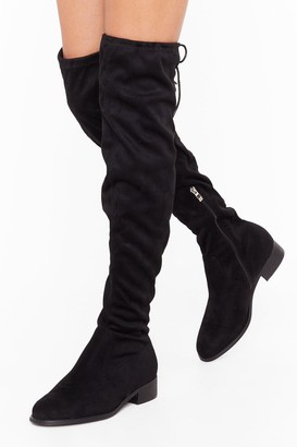 Nasty Gal Womens Give It All You've Got Wide Fit Thigh-High Boot - Black