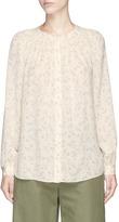 Vince Floral print smocked yoke silk blouse