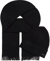Hugo Boss Striped Scarf And Wool Hat Gift Box