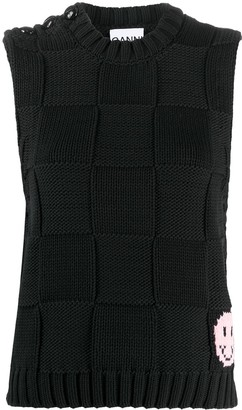 Ganni Smiley-Intarsia Knitted Vest Top