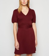New Look Puff Sleeve Belted Tunic Dress