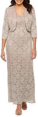 R & M Richards 3/4 Sleeve Embellished Lace Dress with Removable Jacket