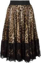 Dolce & Gabbana leopard print pleated skirt - women - Silk/Cotton/Polyamide - 36