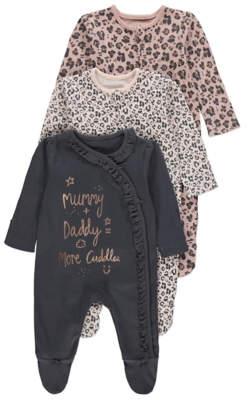 George Pink Leopard Print Sleepsuits 3 Pack