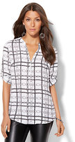 New York & Co. 7th Avenue Design Studio - Zip-Front Tunic - White - Print
