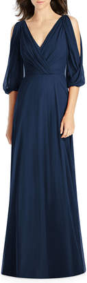 Jenny Packham Draped V-Neck Cold-Shoulder Blouson-Sleeve Lux Chiffon Bridesmaid Dress