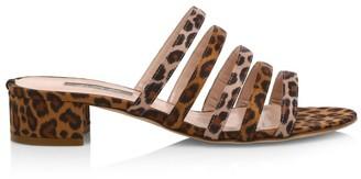 Sarah Jessica Parker Court Leopard-Print Silk Mules