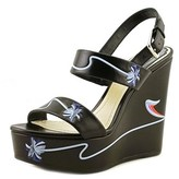 Christian Dior Paradise Open Toe Leather Wedge Sandal.