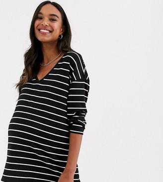 ASOS DESIGN Maternity slouchy v-neck long sleeve stripe t-shirt