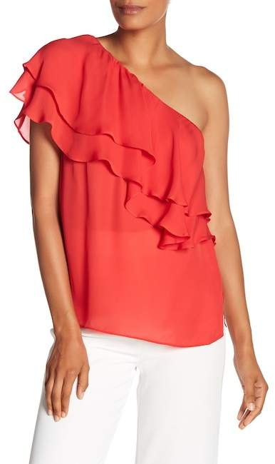 Haute Hippie One Shoulder Ruffle Silk Blouse