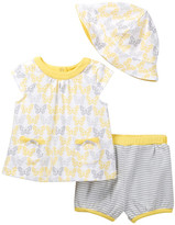 Offspring Butterfly Top, Short, & Hat Set (Baby Girls 3-9M)