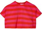 DELPOZO Cropped Striped Jacquard Top