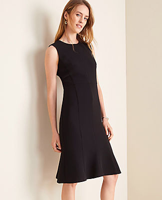 Ann Taylor The Petite Flare Dress in Doubleweave