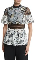 Self-Portrait Self Portrait Lucia Floral-Print Short-Sleeve Top