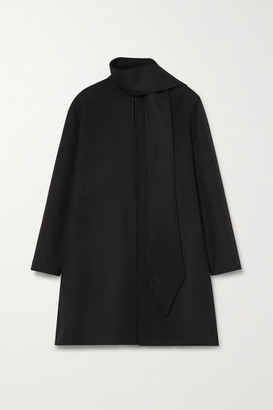 Valentino Draped Wool And Cashmere-blend Felt Coat - Black