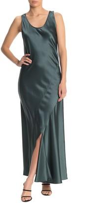 Theory Cutout Sleeveless Satin Maxi Slip Dress