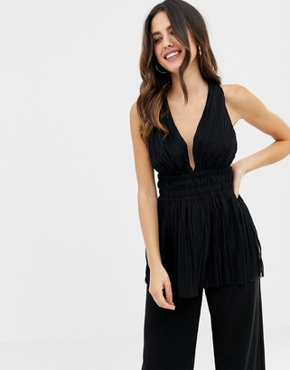 Asos Design DESIGN pleated plunge top with cross back-Black