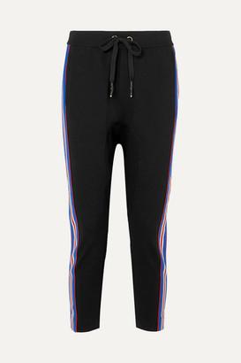 P.E Nation Court Run Striped Stretch-ponte Track Pants - Black