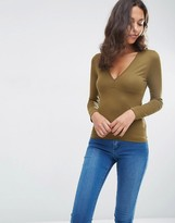 Asos Plunge Neck Top With Long Sleeves