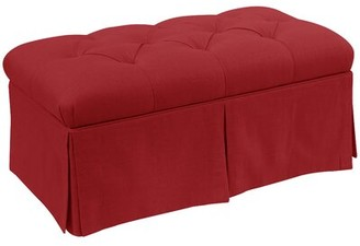 Alcott Hill Craven Tufted Linen Skirted Storage Bench Upholstery: Antique Red